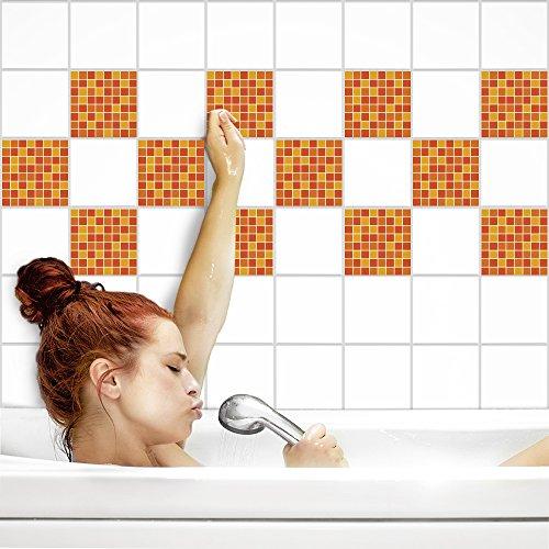 Fliesenaufkleber für Küche und Bad | Fliesenfolie für 15x15cm Fliesen | Mosaik Kürbis matt | 14 Stück | Klebefliesen günstig in 1A Qualität von PrintYourHome