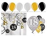 Feste Feiern Geburtstagsdeko Zum 18 Geburtstag |24 Teile All in One Set Spirale Deckenhänger Luftballon Gold Schwarz Silber Party Deko Happy Birthday