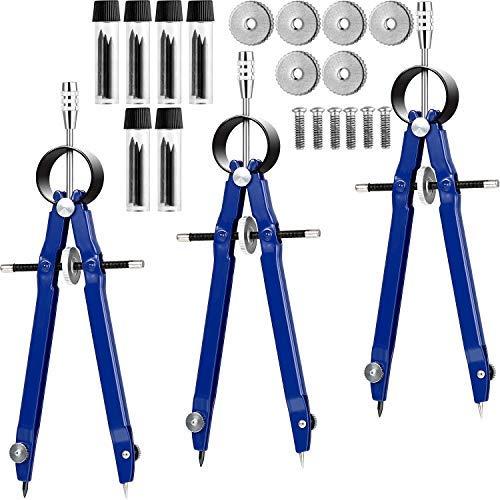 3pezzi professionale compass compass geometrici in metallo con serratura e 6scatole di piombo ricariche per matematica disegno lavoro, diametro 22,9cm.