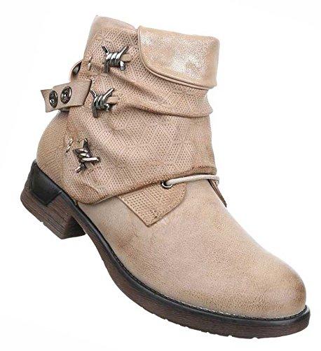 dfd607d05f2c Damen Boots Schuhe Stiefeletten Mit Deko Schwarz Beige Grau Braun 36 37 38  39 40 41