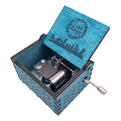 Youtang The Lord of The Rings Caja de música de manivela de Madera Tallada, Juego la canción temática del Señor de los Anillos, Madera, Azul, Azul