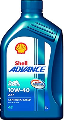 Shell Advance AX7 550031394 10W-40 API SM Synthetic Technology Motorbike Engine Oil (1 L)