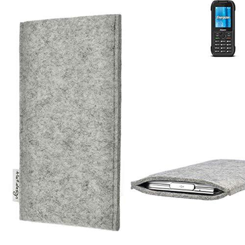 flat.design Handy Hülle Porto für Energizer H240S maßgefertigte Handytasche Filz Tasche Schutz Case fair grau