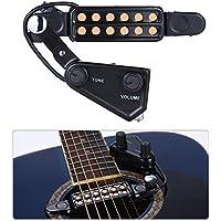 SILENCEBAN 12 SoundHole - Transductor electroacústico de pastilla para guitarra, Preamplificador magnético para guitarra acústica con control de tono y volumen, longitud del cable: 3 m.