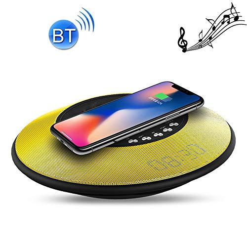 ZUKN Qi Fast Wireless Charger Base mit NFC-Bluetooth-Lautsprechertelefon-Ladestation für iPhone, Galaxy, Huawei, Xiaomi und andere Smartphones,Yellow