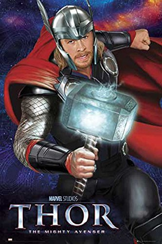 Thor Movie - Hammer - Poster TV Kino Movie - Grösse 61x91,5 cm + 2 St Posterleisten Holz 61 cm