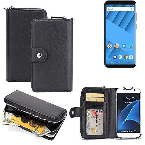 K-S-Trade 2in1 Handyhülle für Vernee M6 hochwertige Schutzhülle & Portemonnee Tasche Handytasche Etui Geldbörse Wallet Case Hülle schwarz