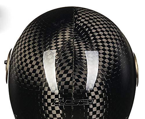 Lyanh Casco Moto Aperto, Uomini e Donne in Fibra di Carbonio Leggero Moda retrò DOT Certificazione di Sicurezza Casco da Moto (Nero Lucido),XL
