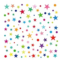 decalmile Rainbow Polka Dot and Star Wall Stickers Kids Room Wall Decor Removable Wall Decals for Baby Nursery Childrens Bedroom Playroom Wall Art (1 Pack)