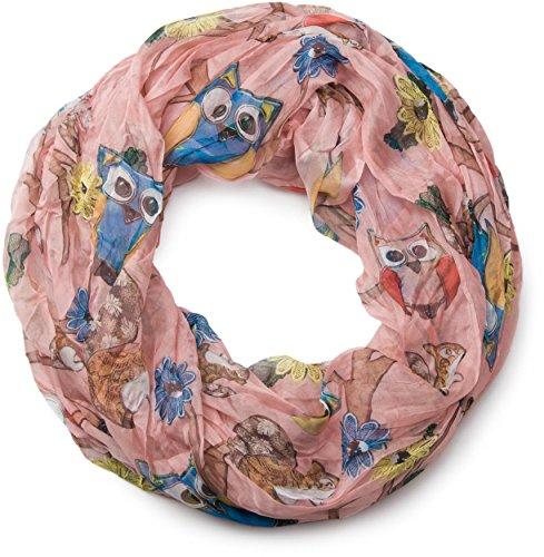 styleBREAKER Eulen, Eichhörnchen und Blumen Muster Loop Schlauchschal, Crash and Crinkle, seidig leicht, Damen 01016092, Farbe:Rosa