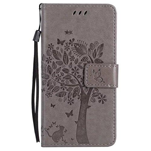 HTC M8 Cover Case, Embossing gepresste Blumen Katze und Baum Muster Solid Color PU-Leder Tasche weichen Silikon-Cover Flip-Stand Geldbörse mit Lanyard für HTC M8 ( Color : 5 , Size : HTC M8 ) 8