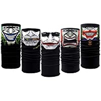 Gocrown 10PCS Riding Motorcycle Versatile Sports Half Face Mask Black Clown Bandana Seamless Universal Breathable Tube