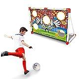 BAKAJI Porta da Calcio per Bambini in Plastica con Rete 120 x 73 cm per Allenamento Rigori e Punizioni con Telo Fori Punteggio e Pallone