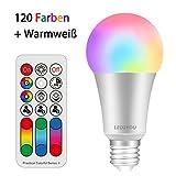 LED Lampe Farbwechsel LED2YOU 10W E27 LED RGBW Lampe mit Fernbedienung Dimmbar Speicherfunktion RGB+Warmweiß Licht Birne Leuchtmittel