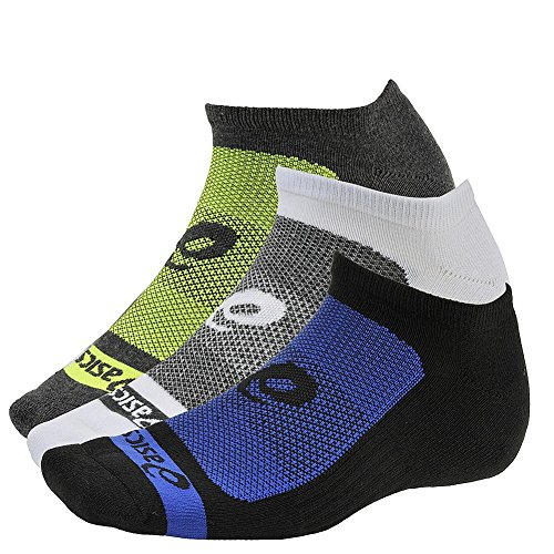 ASICS Contend No Show Sock (Pack of 3), Large, Air Force Blue Assorted