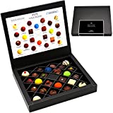 Hallingers 24 Pralinen First Class Black, z.B. für Muttertag, Vatertag, Valentinstag | FirstClass-Box | 300g