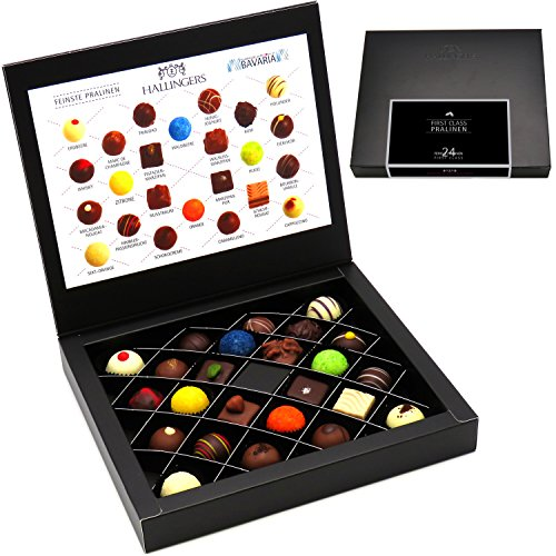 Hallingers Pralinen-Geschenk First Class Pralinen - 24 Pralinen feinster Schokolade, z.B. für Muttertag, Vatertag, Valentinstag, Geburtstag, Danke | FirstClass-Box (300g)
