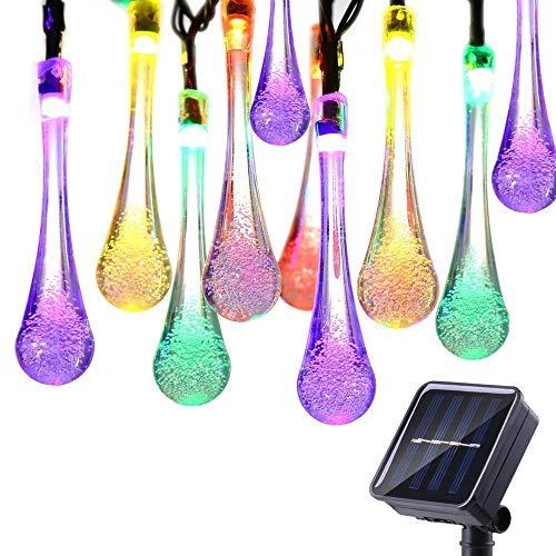 Guirlande Lumineuses Solaire D'extérieur, KEEDA 20LED Goutte d'Eau,4,8m, Lampe LED Imperméable,Luminaire Extérieur, Décoration D'extérieur et Intérieure (Multi)