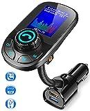 Bovon Transmetteur FM Bluetooth, QC3.0 Chargeur Allume Cigare Bluetooth Adaptateur Radio avec Appel Main Libre et 1.8' Écran LCD, Kit Voiture sans Fil Émetteur FM Soutien Aux Entrée/Sortie & Carte TF