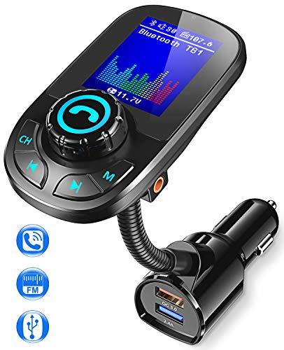Bovon Transmisor FM Bluetooth Coche, Bluetooth Adaptador Inalámbrico QC3.0 para Coche con Manos Libres y 1.8\'\' Pantalla LCD, Reproductor MP3 Coche Soporte Entrada/Salida Auxiliar y Tarjeta SD