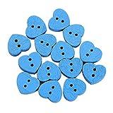 TUDUZ 14 Stück Herzform Holzknöpfe 2 Löcher Knöpfe Nähen Knöpfe zum Selberaufnähen/Basteln (Durchmesser ca. 15mm, Einfarbig)(Blau)