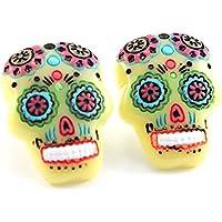 TFB–Funky Grande Colore: Giallo messicano zucchero teschio orecchini–Kitsch divertente moda retrò Junk Snack Food