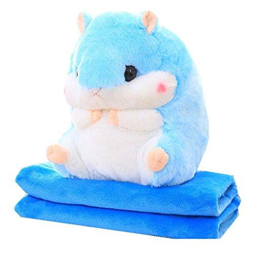 JYSPORT Baby Plüschtier Hamster kissen Spielzeug Kuscheltier Kinder Schlafkissen Kids Decke (Blau)