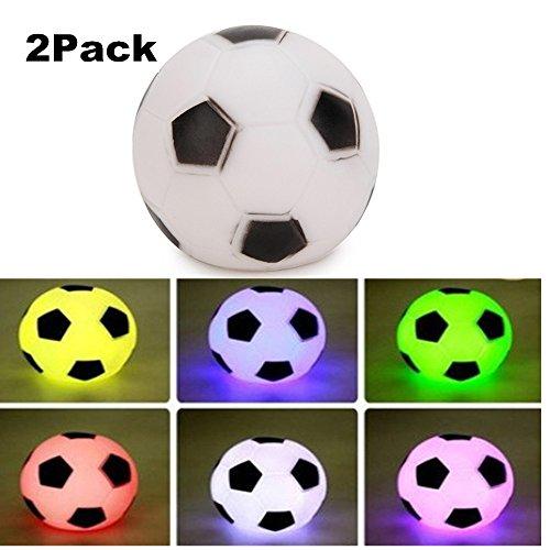 SOLMORE 2x LED Colorful Football Fußball Lampe Nachtlicht Nachttischlampen Spielzeug Tischleuchte Stimmungslicht für Kinder Baby Jungen Schlafzimmer Kinderzimmer Geburtstag Party Zubehör Weihnachten