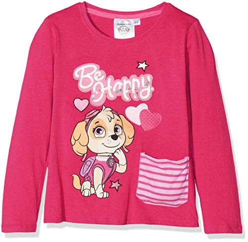 Nickelodeon paw patrol be happy, t-shirt bambina, pink (fushia 18-2436tc), 6 anni