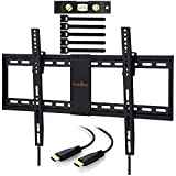 Perlegear Tilt TV Bracket Slim Adjustable Heavy Duty - Tilt TV Mount Saves Space For 32-70 Inch LED OLED LCD Flat Screen TVs - Low Profile TV Bracket For 32-70 Inch LED OLED LCD Flat Screen TVs - Includes 1.8m HDMI Cable, Bubble Level
