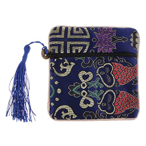 SM SunniMix Seidenbeutel Tasche Seide mit Ornamenten Kosmetiktäschen - Blau -