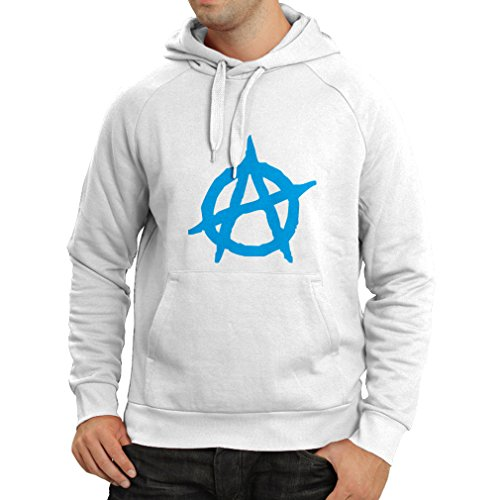 lepni.me Kapuzenpullover Anarchistisches Symbol, anarchistisches politisches Design, Anarchie-Monogramm (XX-Large Weiß Blau)