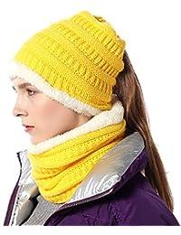 FLY HAWK Sombreros Bufanda Cuello de Invierno para Mujer Niña - Tipo Slouch  Beanie de Punto Bobble Sombrero para… a72d84e7c6e