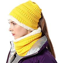 FLY HAWK Cappello Sciarpa Anello in Maglia Invernali da Donna - Berretto  Beanie Sciarpa Loop Knit fbfe8067d050