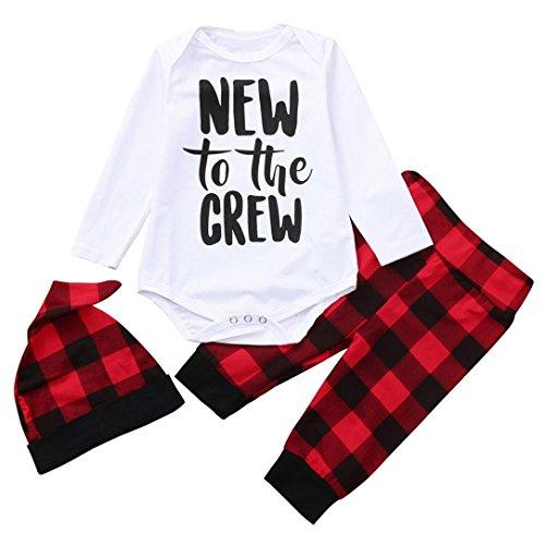 Neugeborene Baby Mädchen Jungen Outfit Sets Kinder Langarm Strampler Overall Top + Plaid Hose Pants + Hut Babykleidung Set Weich Baumwolle Kinderkleider für 1-2 Jahre