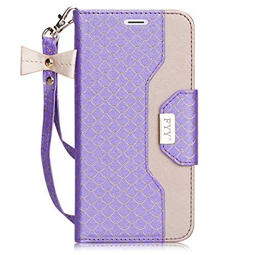 fyy iPhone 6S Plus Tasche, Premium PU Leder Geldbörse Fall mit Kosmetik Spiegel und Schleife Gurt für iPhone 6S Plus/6Plus, Z-Fish Scale-DarkViolet (Mit 6 Schleife Fall Iphone)