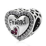 YiRong Jewelry Freundschafts-Armband 925Sterling-Silber Herz Friend Herz-Charm-Anhänger für Pandora-Armbänder a
