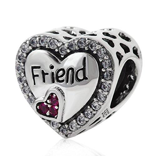 Ciondolo a cuore in argento sterling 925amicizia friend charm love charm ciondolo a forma di fiore anniversary charm per braccialetti pandora a