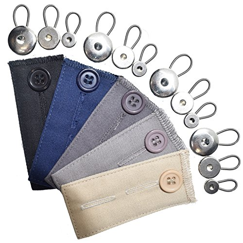 17-pack Button Extender Set-8x Spring Metall Taille Knopf Extender, 4x Halsband Extender, 5x Baumwolle Button Extender für Hosen, Hemden, Röcke, Jeans