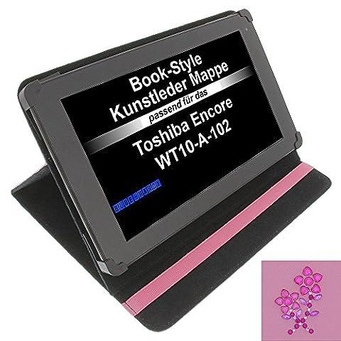 Tasche Strass Blume für Toshiba Encore WT10-A-102 Excite AT10-A-104 Book Style Schutz Hülle Buch pink