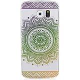 LTWS TPU Silikon Hülle für Samsung Galaxy S6 Edge Handyhülle Schale Etui Protective Case Cover dünn mit Drucken Muster - indisches Heilige Blume Mandala Grün