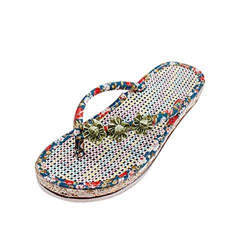 Vovotrade Frauen Sommer Sandelholz Schuhe Klippzehe Blume flache Sandalen und Pantoffeln Halbschuhe römischen Sandalen Damen Flip Flops Grün