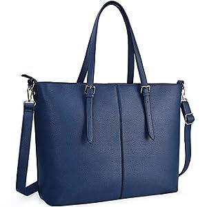 51N7hwGstuL. SS300  - NUBILY Bolsos de Mujer Bolso para Portatil 15.6 Pulgadas Bolso Grande Bolso Tote Bolso de Hombro Bolso Shopper Bolso de Cuero Azul