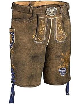 MOSER Trachten Lederhose kurz mit Gürtel braun mit Bayernwappen Fayern 003310 von Spieth & Wenksy, Material Leder