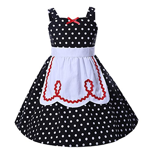 Pettigirl Mädchen Prinzessin Kleider Polka Punkt SchickAnkleiden Halloween Party Dirndl Kleider 6 Jahre