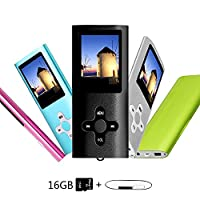 Btopllc MP3 /MP4 Player 16GB Card, Music Player, Portable 1.7 inch LCD MP3 / MP4, Media Player, USB Cable, Picture Review,Ebook Media Player - Black01