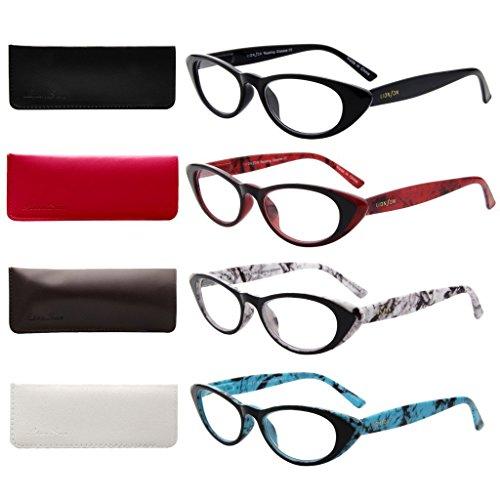Liansan 4er Damen Cat Eye 1.0Lesebrille 201,52,53,03,54,0leicht Damen stylisch Leser mit Brillenetui l3720