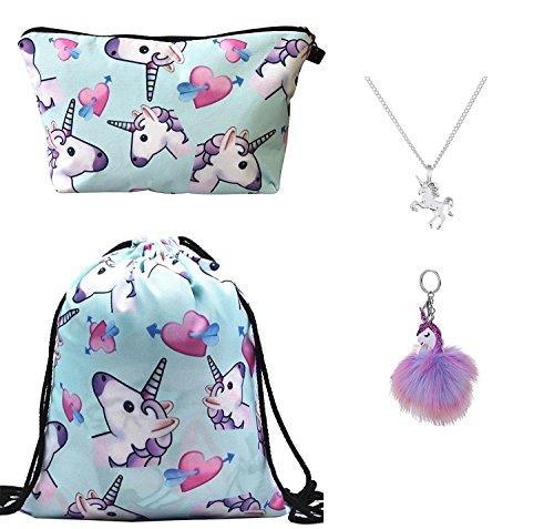 DRESHOW 4 Pack niedliche Unicorn Kordelzug Rucksack/Make Up Tasche/Legierung Kette Halskette/Fluffy Anhänger Schlüsselanhänger Schlüsselanhänger Handtasche (Niedliche Make-up-taschen)
