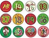 ShiyiUP Weihnachtsaufkleber Sticker Tattoo Zahlen Etiketten Adventskalender Rund Klebezettel Dekoration,2#