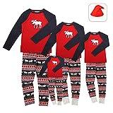 Pijamas de Navidad Familia Conjunto Pantalon y Top Fiesta Manga Larga Trajes Navideños Reno Pijama Dos Piezas Mujer Hombre Niños Niña Ropa de Dormir para Bebés Mamá Papá Romper Homewear Sleepsuit